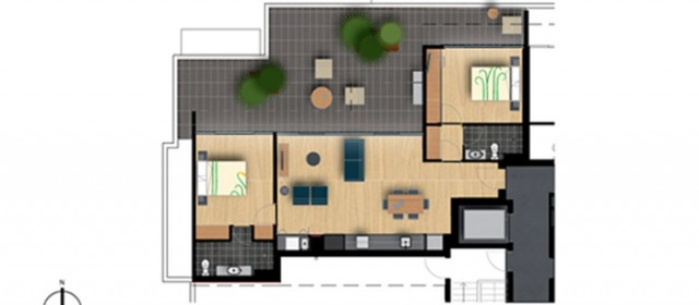 Pent level floor plan